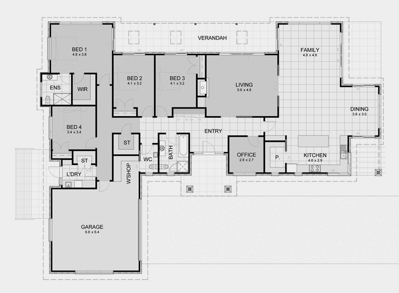 Custom luxury home builders nz for Rectangle house plans