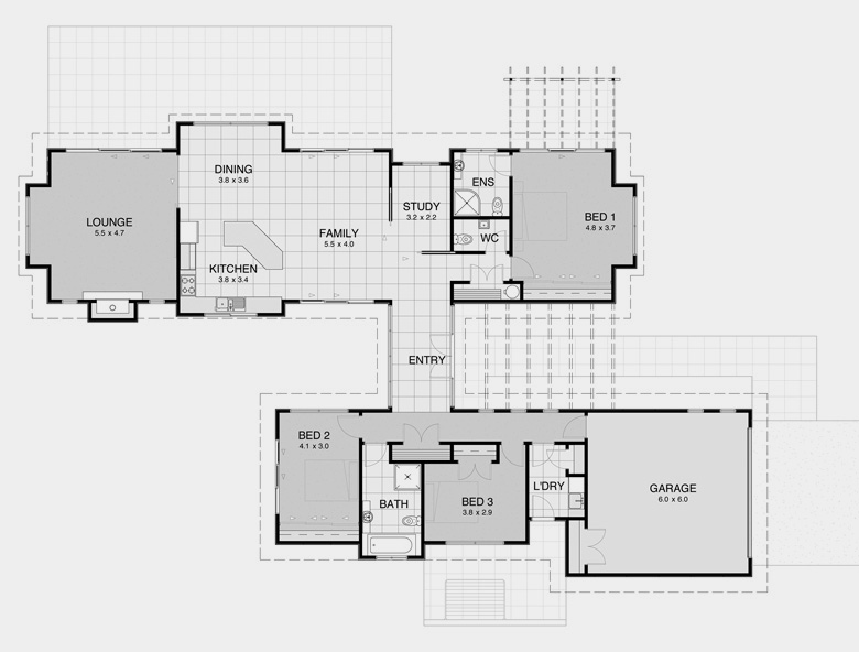 Pavilion plan 1 house plans for spacious private living for Pavilion style home designs