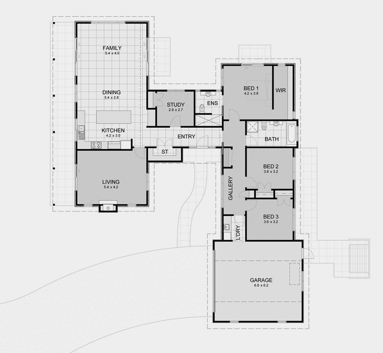 Pavilion plan 2 house plans for spacious private living for Pavilion style home designs