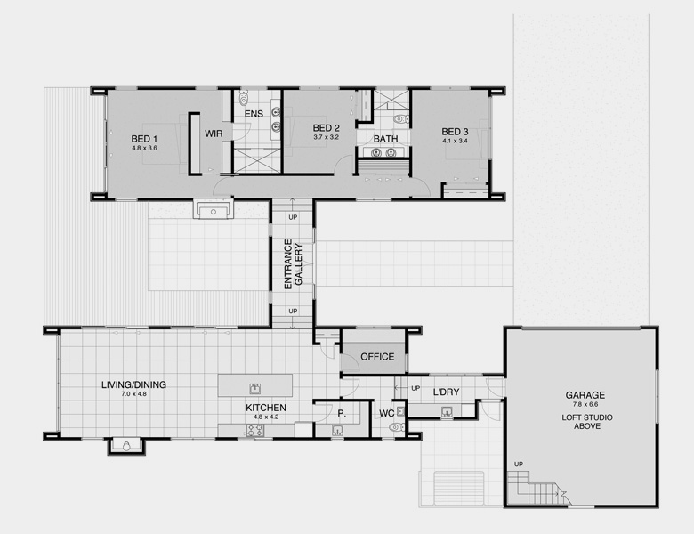 Pavilion plan 3 house plans for spacious private living Pavilion style house plans